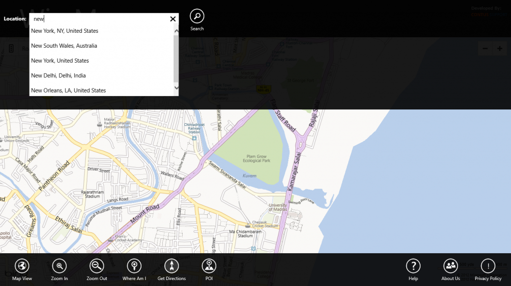 Windows 8 Map App  Search Suggestions
